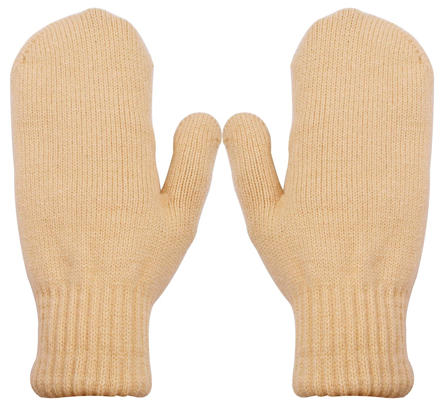 PZLE Women's Knitted Mittens Cashmere Winter Warm Thick Khaki by PZLE