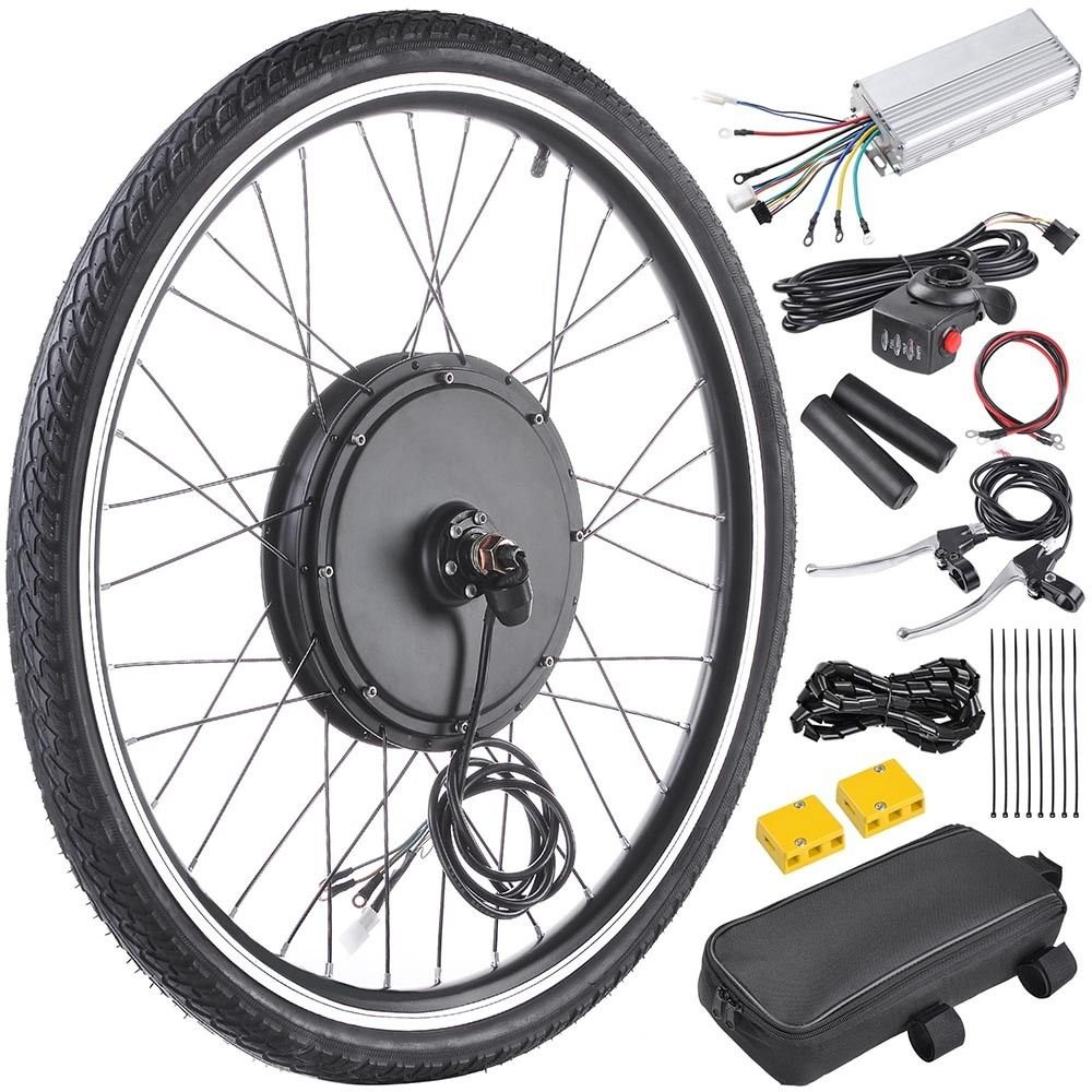 48V1000W26'' Front Wheel Electric Bicycle Motor Kit E-Bike Cycling Hub Conversion With Ebook
