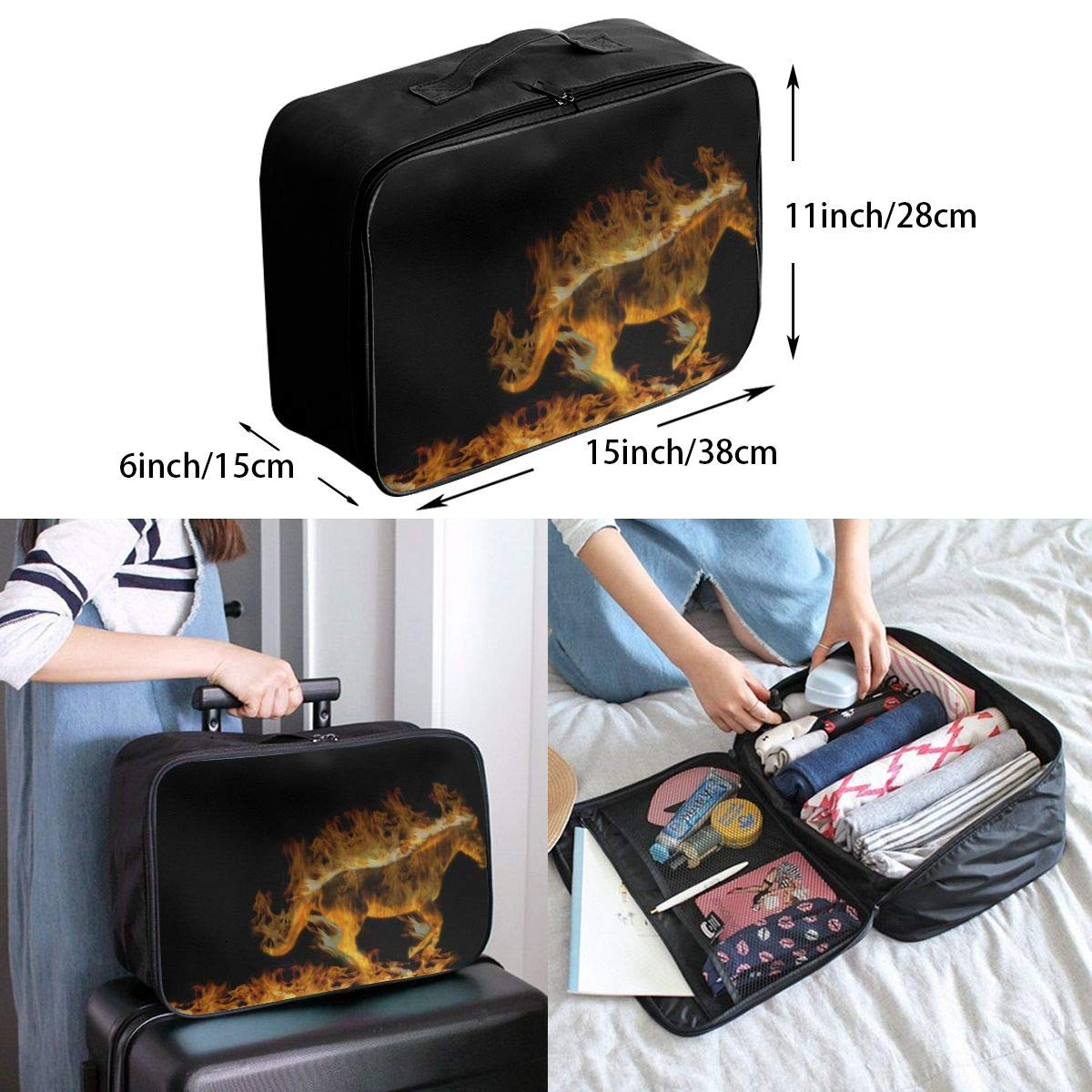 Travel Luggage Duffle Bag Lightweight Portable Handbag Flaming Horse Pattern Large Capacity Waterproof Foldable Storage Tote