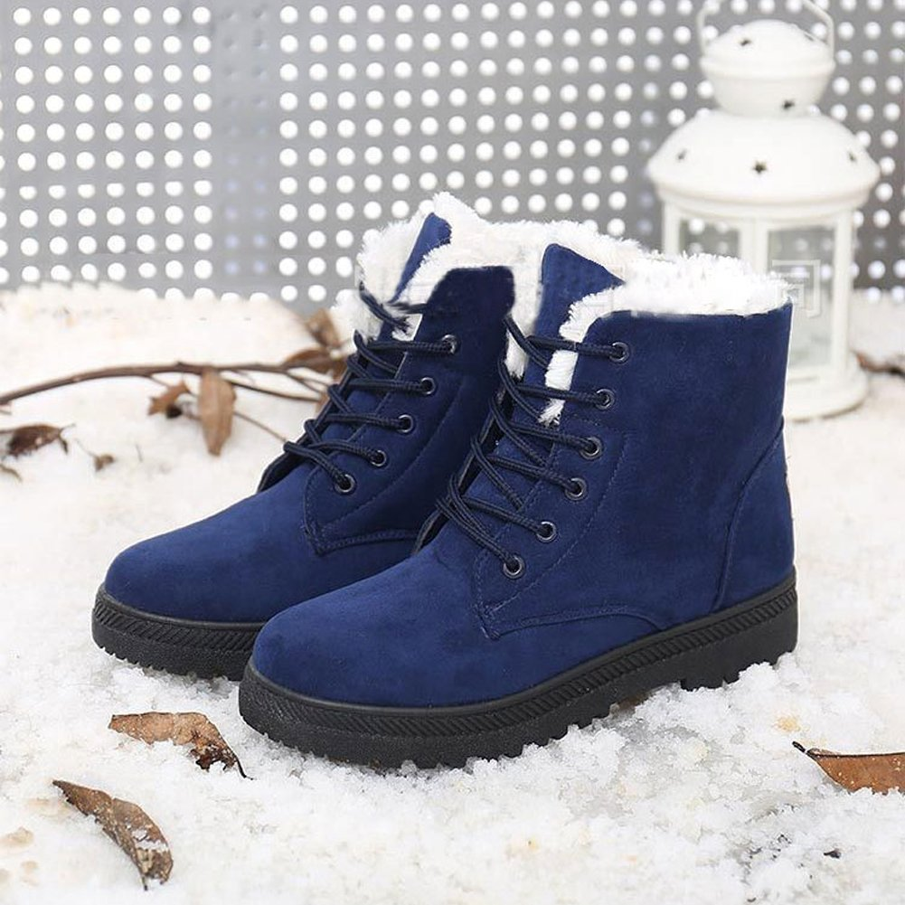 Harence Women's Suede Flat Platform Sneaker Shoes Fashion Winter Lace Up Cotton Snow Boots by Harence (Image #4)