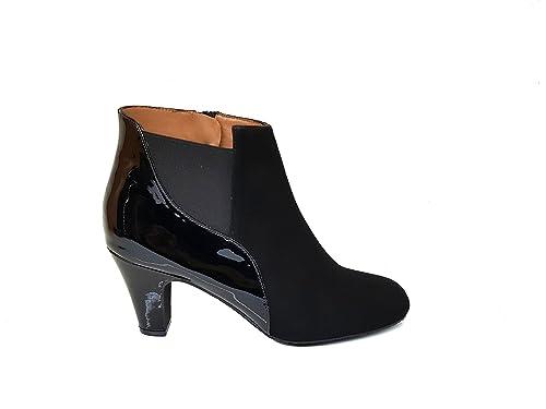 Botines Chelsea para Mujer de Piel con Tacon Botier Medio 6 cm + Punta Redonda Cerrada + Cierre con Cremallera y Elastico: Amazon.es: Zapatos y complementos