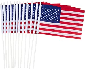Juvale American Flag Stick, Mini Flags (12.1 in, 12-Pack)