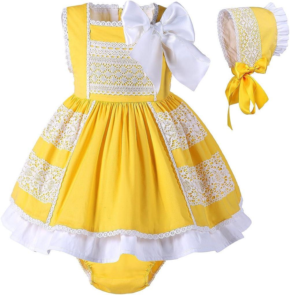 Lajinirr Lajinirr Mädchen Gelbe Kleider Weiß Bogen Ärmelloses Knie