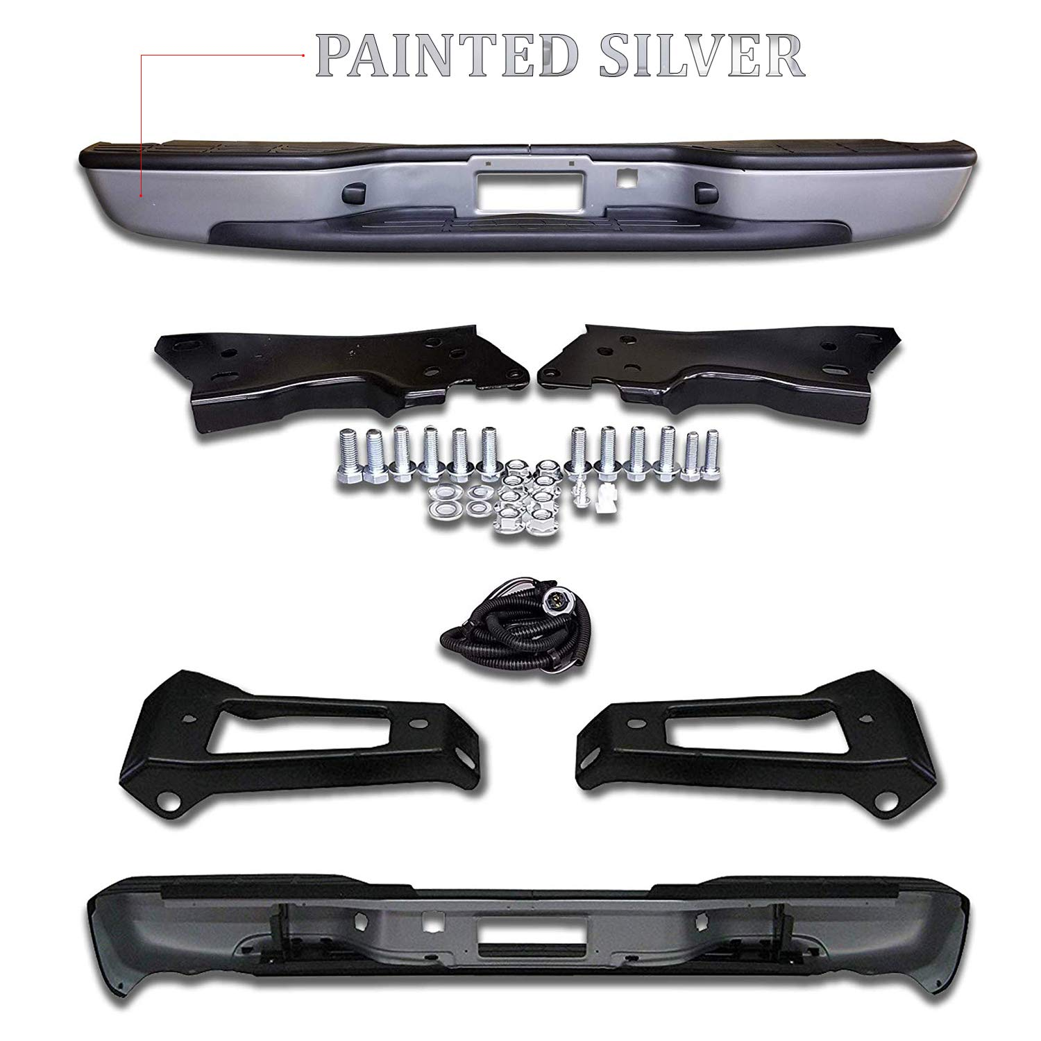 Make Auto Parts Manufacturing Rear Painted Silver Step Bumper Assembly Fleetside With Brackets Light Kit Bolts Bar For Chevrolet Silverado 1999-2006 / GMC Sierra 1500 1999-2006 - Partslink GM1103124