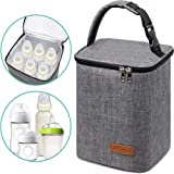 Breastmilk Cooler Bag Insulated Baby Bottle Bag, Reusable Baby Bottle Tote Bag for up to 6 Bottles 4 Large 9 Oz Bottles, Free