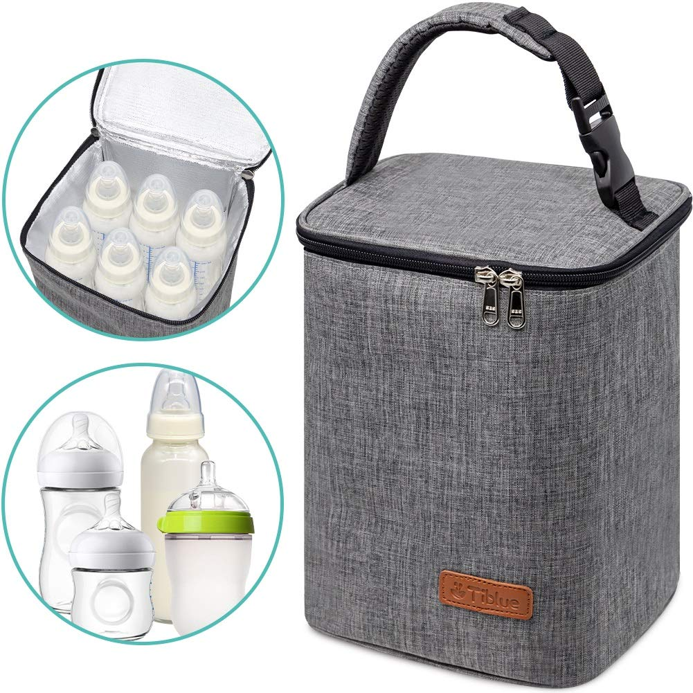 Breastmilk Cooler Bag Insulated Baby Bottle Bag, Reusable Baby Bottle Tote Bag for up to 6 Bottles 4 Large 9 Oz Like Dr. Brown, Comotomo, Philips Avent, Nuk, Lansinoh, etc, Perfect for Nursing Mom