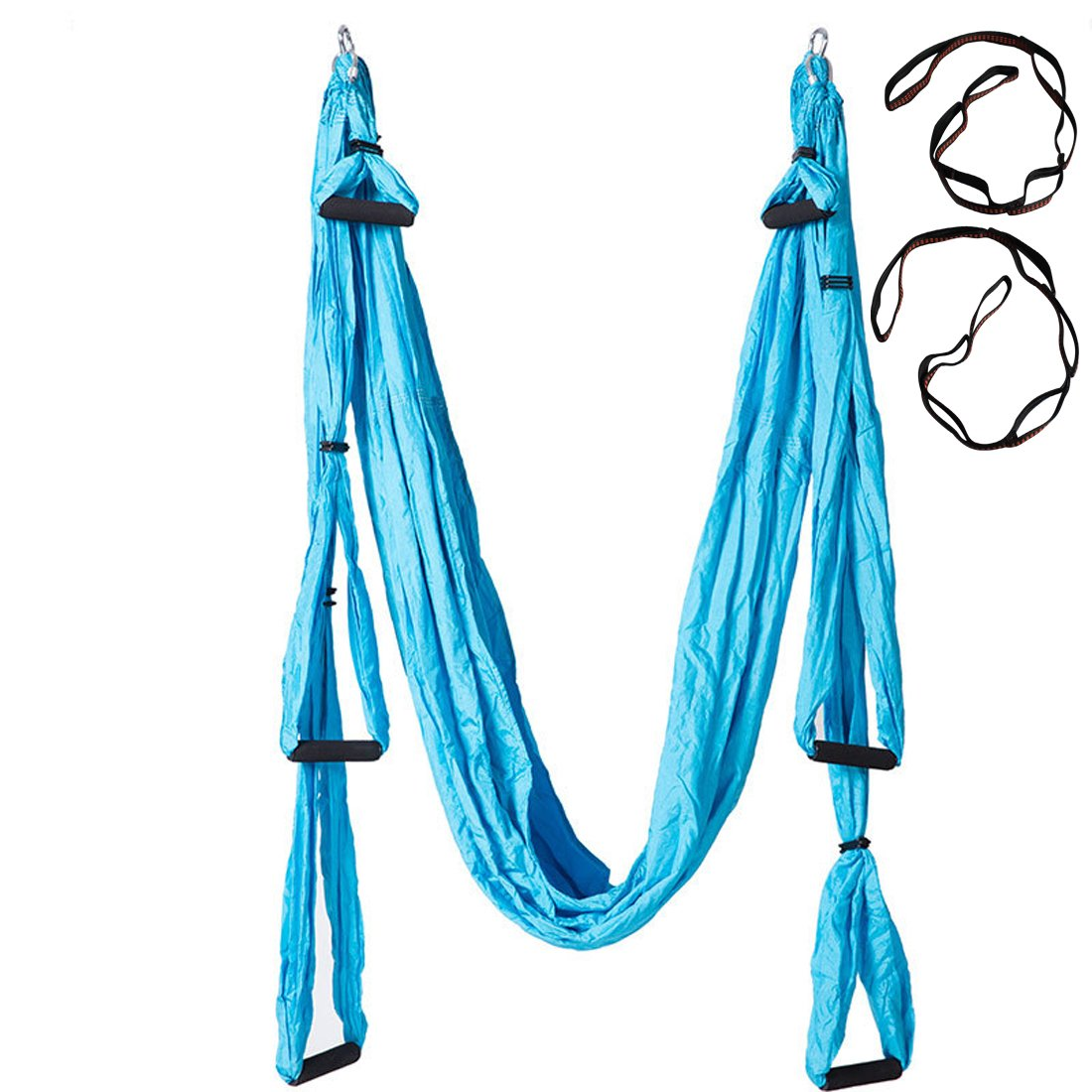 Suyi Hi Anti-Gravity Aerial Yoga Silks Hammock Flying Swing Yoga Pilates Set Kit Include Steel Carabiners Extension Straps