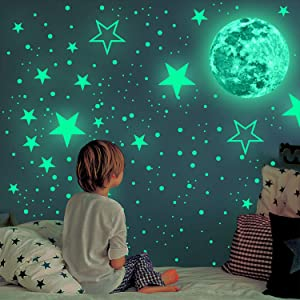 Glow in The Dark Stickers - 939pcs Glow in The Dark Stars for Ceiling Star Stickers Moon Decor Luminous Wall Stickers for Kid Girls Boys Room Decor 3D Art Wall Decor Wallpaper Decorations for Bedroom