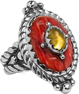 product image for Carolyn Pollack Sterling Silver Spiny Oyster Shell and Citrine Gemstone Statement Ring Size 5 to 10