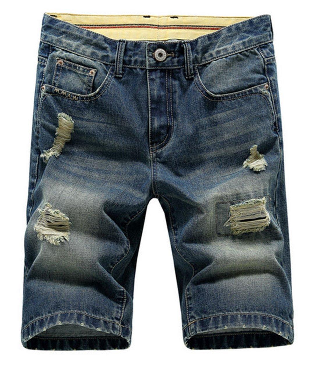 Hzcx Fashion Men's Summer Light Weight Blue Short Jeans Slim Brush Denim Shorts