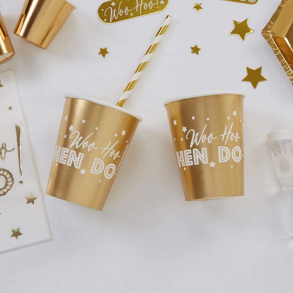 Neviti 776094 Woo Hoo Hen Do-Paper Cup-8 Pack 7.5 x 7.5 x 9 Gold