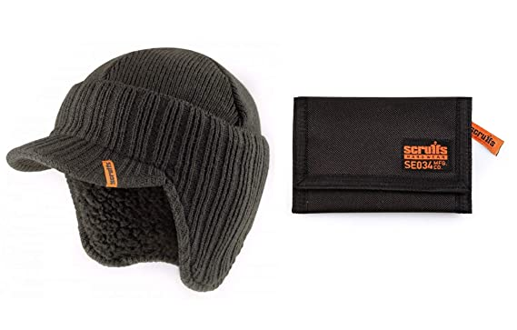 1415b1a6308 mad4tools Scruffs Grey Peaked Beanie Hat and Black Wallet  Amazon.co.uk   Clothing