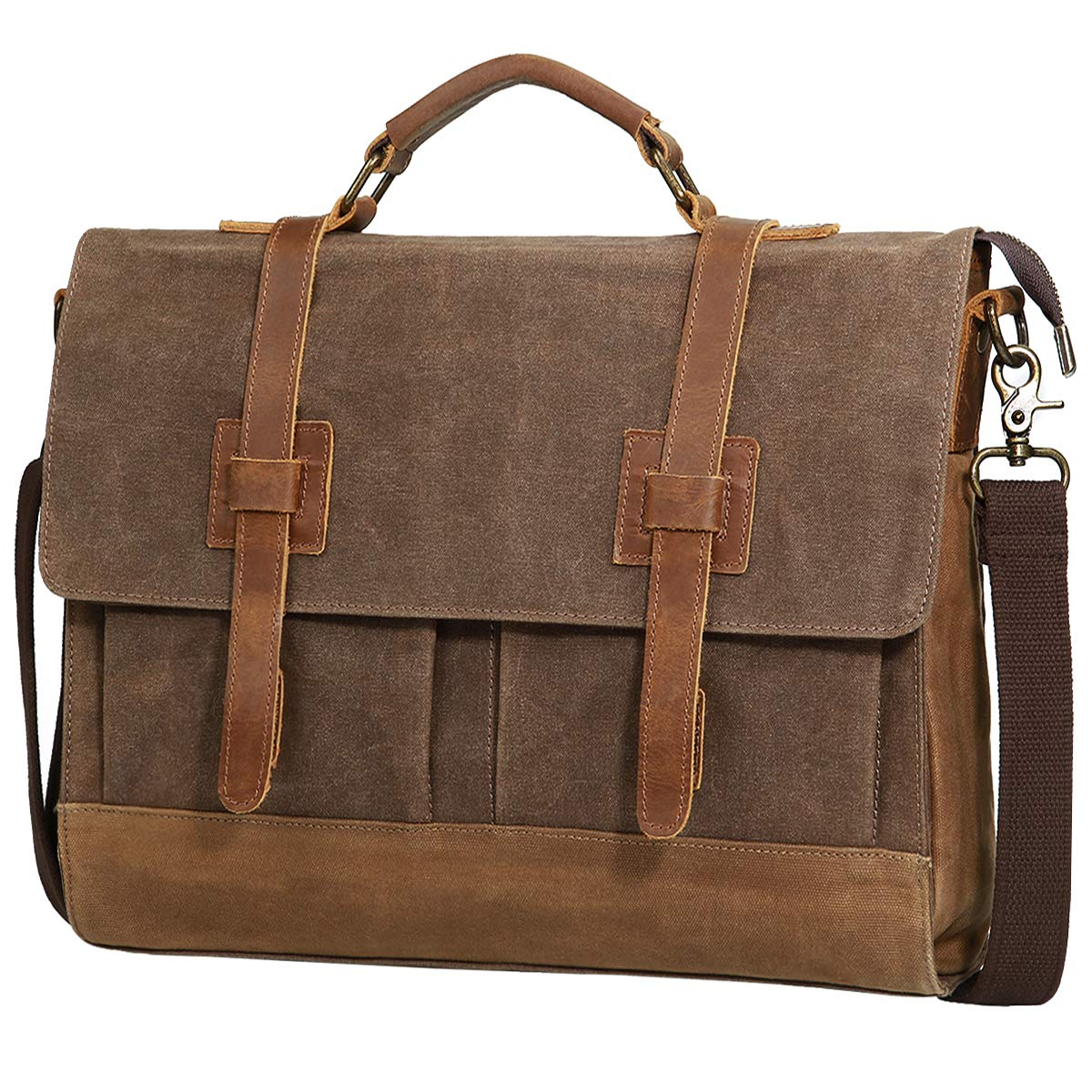 58f879169 Large Messenger Bag for Men Tocode, Vintage Waxed Canvas Satchel Leather  Briefcases Crossbody Shoulder Bags, 15.6 inch Computer Laptop Bags Water  Resistant ...