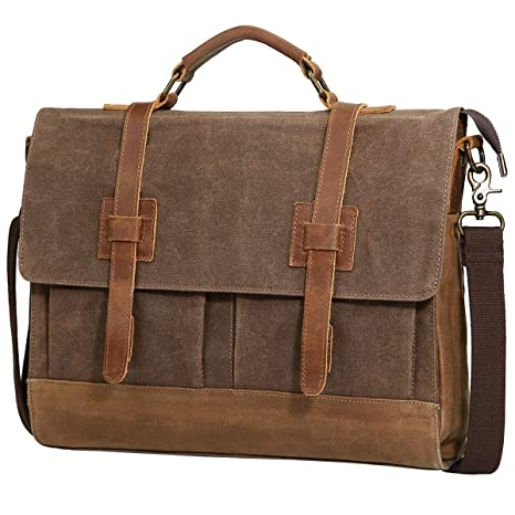 Image Unavailable. Image not available for. Color  Mens Messenger Bag,  Tocode 15.6 inch Vintage Canvas Leather Business Briefcase Large Satchel  Shoulder ... 8f6002766a
