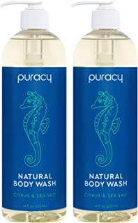 product image for Puracy Natural Body Wash for Men and Women, Citrus & Sea Salt Skin Softening Bath & Shower Gel with Coco Glycinate, 16 Fl Oz (2-Pack)