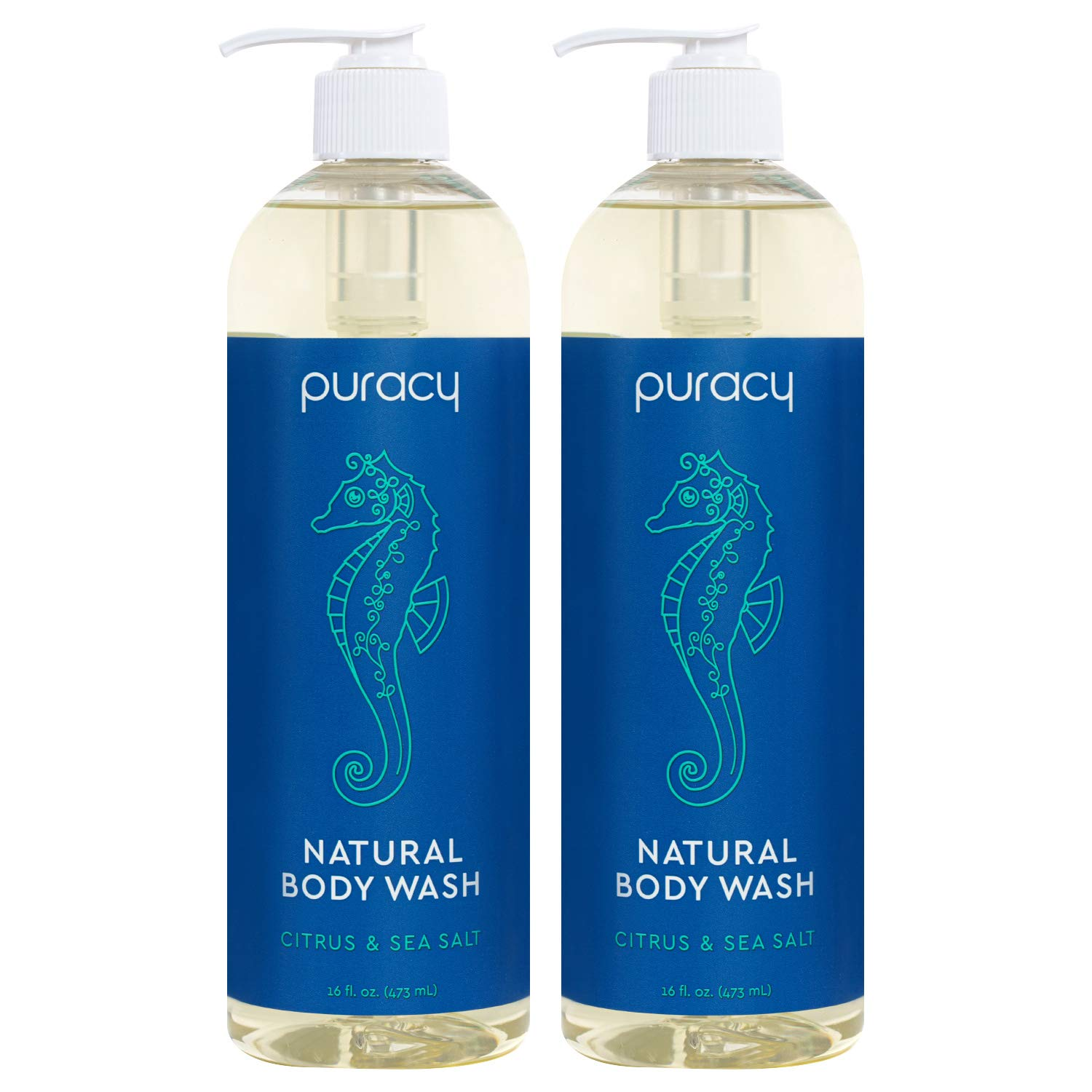 Puracy Body Wash, Citrus & Sea Salt, Natural Bath & Shower Gel for Men and Women, 16 Ounce (2-Pack) : Beauty
