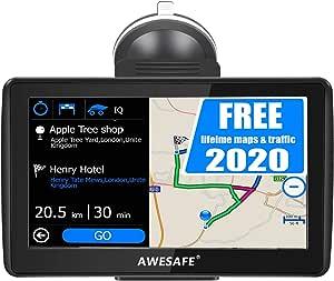 Navegador satélite coche 7 pulgadas GPS para coche moto, mapa de Europa más reciente, aviso de tráfico vocal, límite de velocidad, POI, planificación inteligente de la ruta: Amazon.es: Electrónica