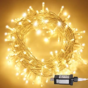 Aluan Christmas Lights 200 LED 76 ft Indoor Fairy String Lights 8 Modes Adjustable Plug in Fairy String Lights for Home Garden Party Christmas Tree Window Curtain Decoration, Warm White