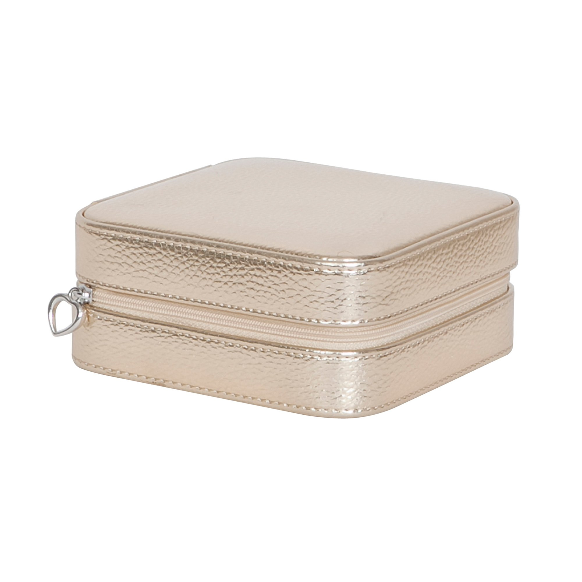 Luna Travel Metallic Faux Leather Jewelry Case Color Gold