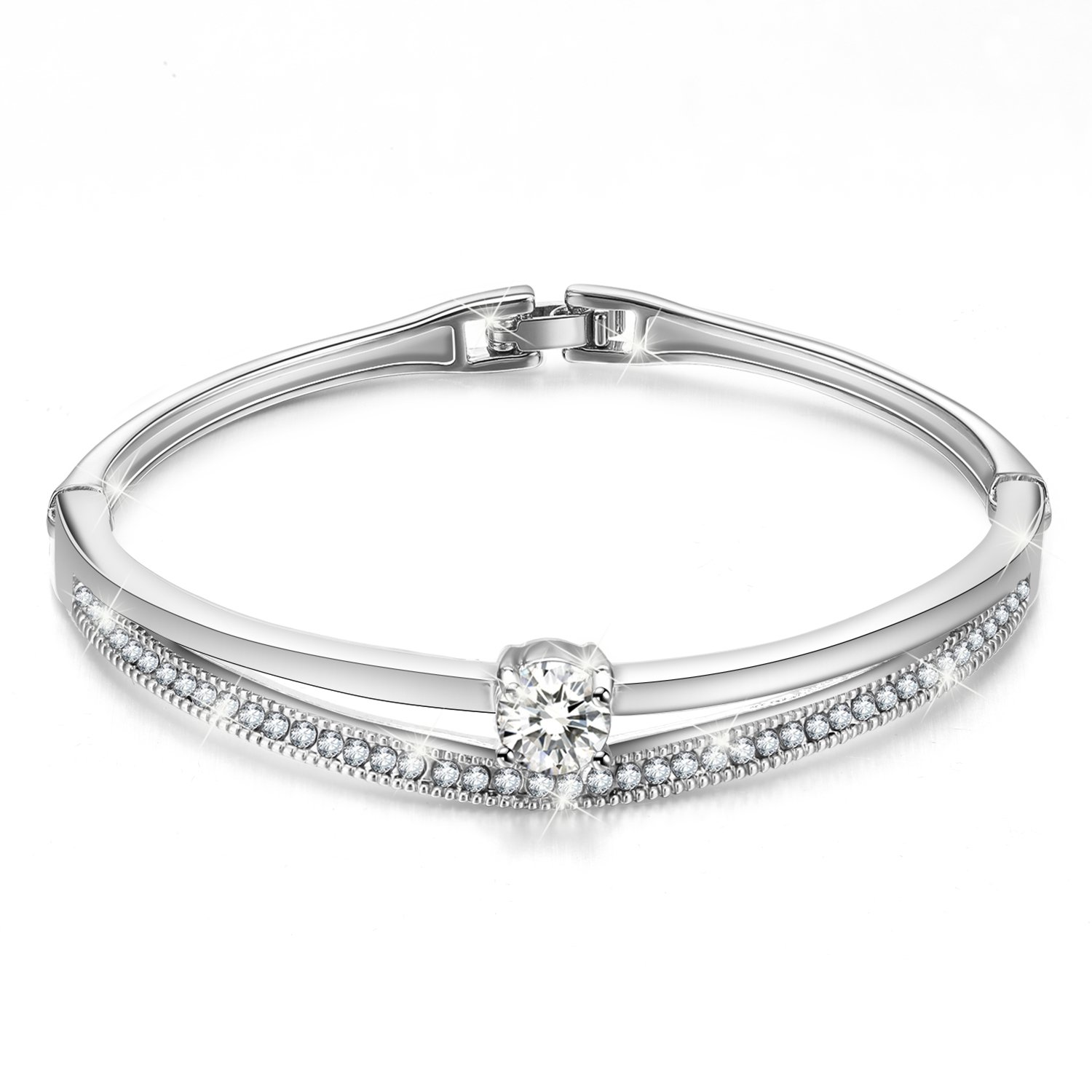 Menton Ezil Fashion Jewelry Silver Swarovski Crystals Bangle Bracelet for Women, Wife, Mom- White Gold Plated -Gift for her