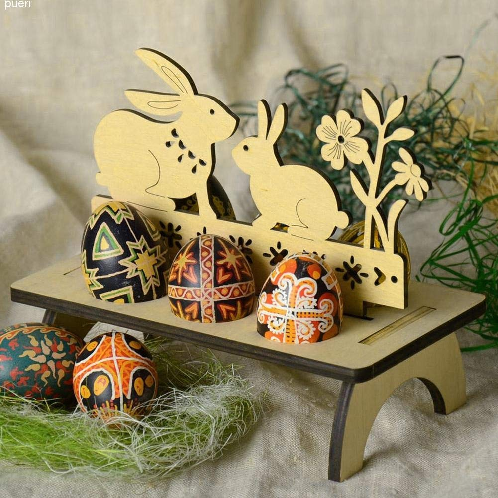 Gotian Great Wooden Creative Easter Egg Shelves for Kids Bunny Hen Pattern Carry Hold Eggs For Kitchen Room Decor (B)