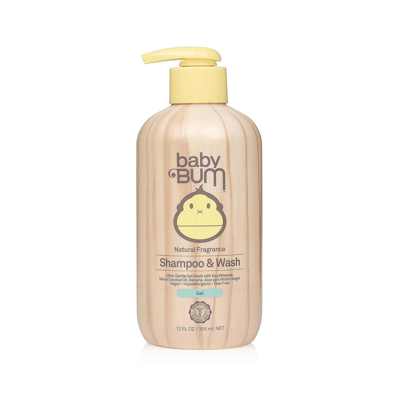 Baby Bum Shampoo & Wash Gel   Tear Free Soap for Sensitive Skin with Nourishing Coconut Oil   Natural Fragrance   Gluten Free and Vegan   12 FL OZ
