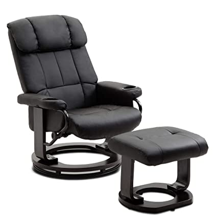 Groovy Leather Recliner And Ottoman Set Living Room Chair With Swiveling Mahogany Wood Basetwo Cup Holders Black Uwap Interior Chair Design Uwaporg