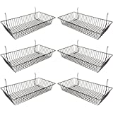 "Only Garment Racks #5624B (Pack of 6) Black Wire Baskets for Grid wall, Slat wall or Pegboard - Merchandiser Baskets, Black Wire Basket 24"" L x 12"" D x 4"" H (Set of 6) (Pack of 6)"