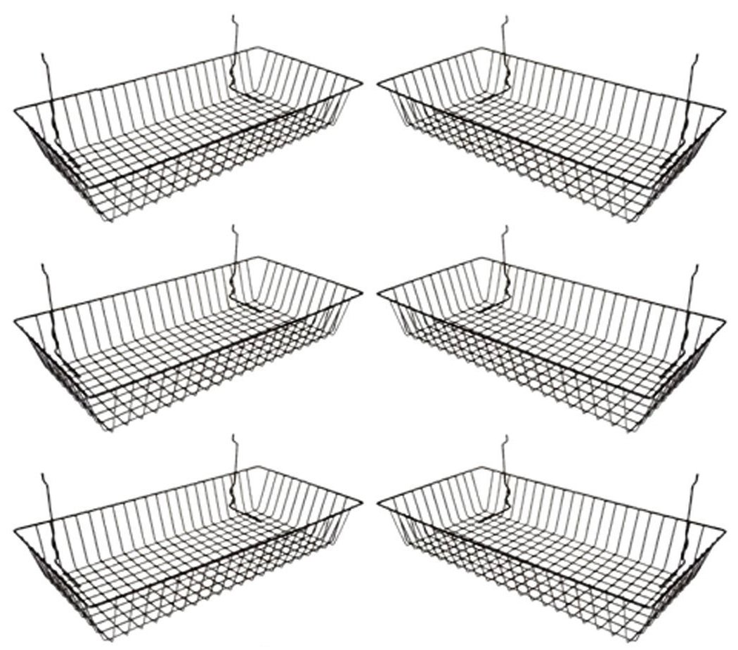 Only Garment Racks #5624B (Pack of 6) Black Wire Baskets for Grid Wall, Slat Wall or Pegboard - Merchandiser Baskets, Black Wire Basket 24'' L x 12'' D x 4'' H (Set of 6) (Pack of 6)