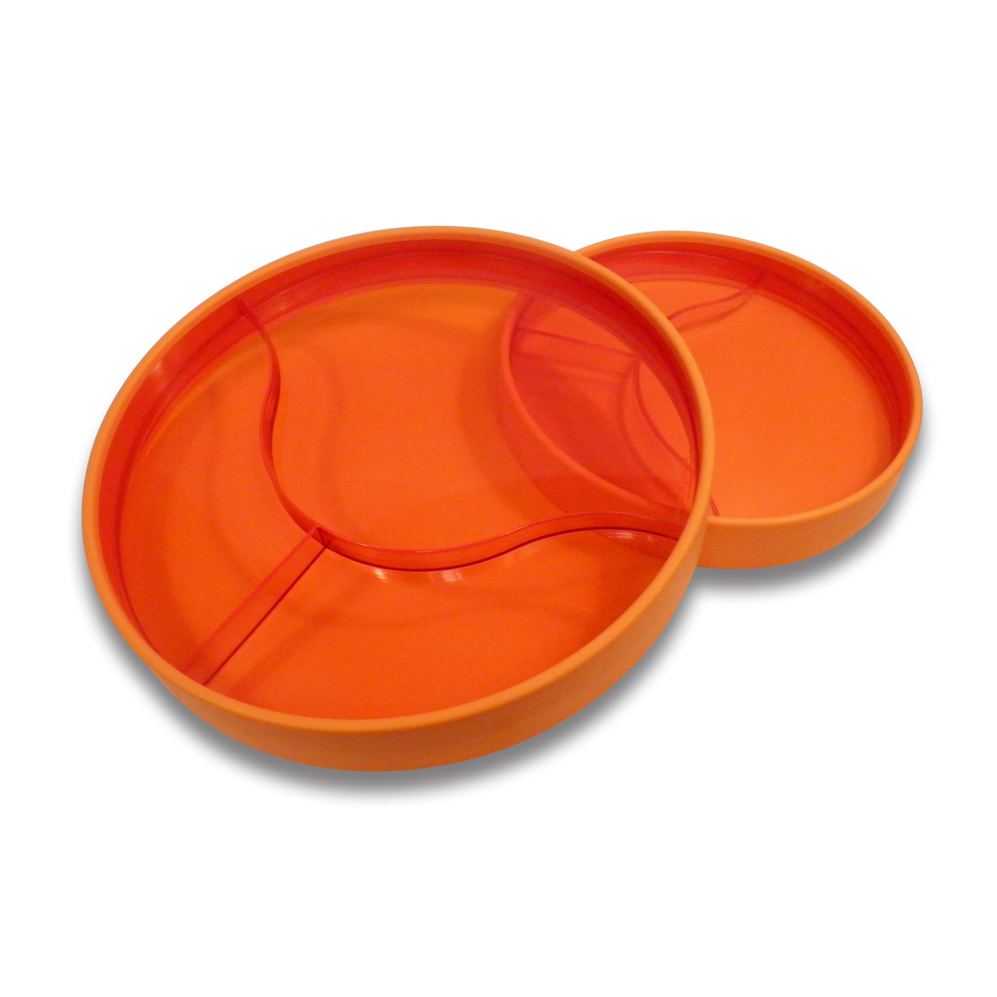 "STAYnEAT Reversible Suction Plate Set, 2 Sided, Sloped, Divided, 7.5"" and 9.5"" Transparent Orange"