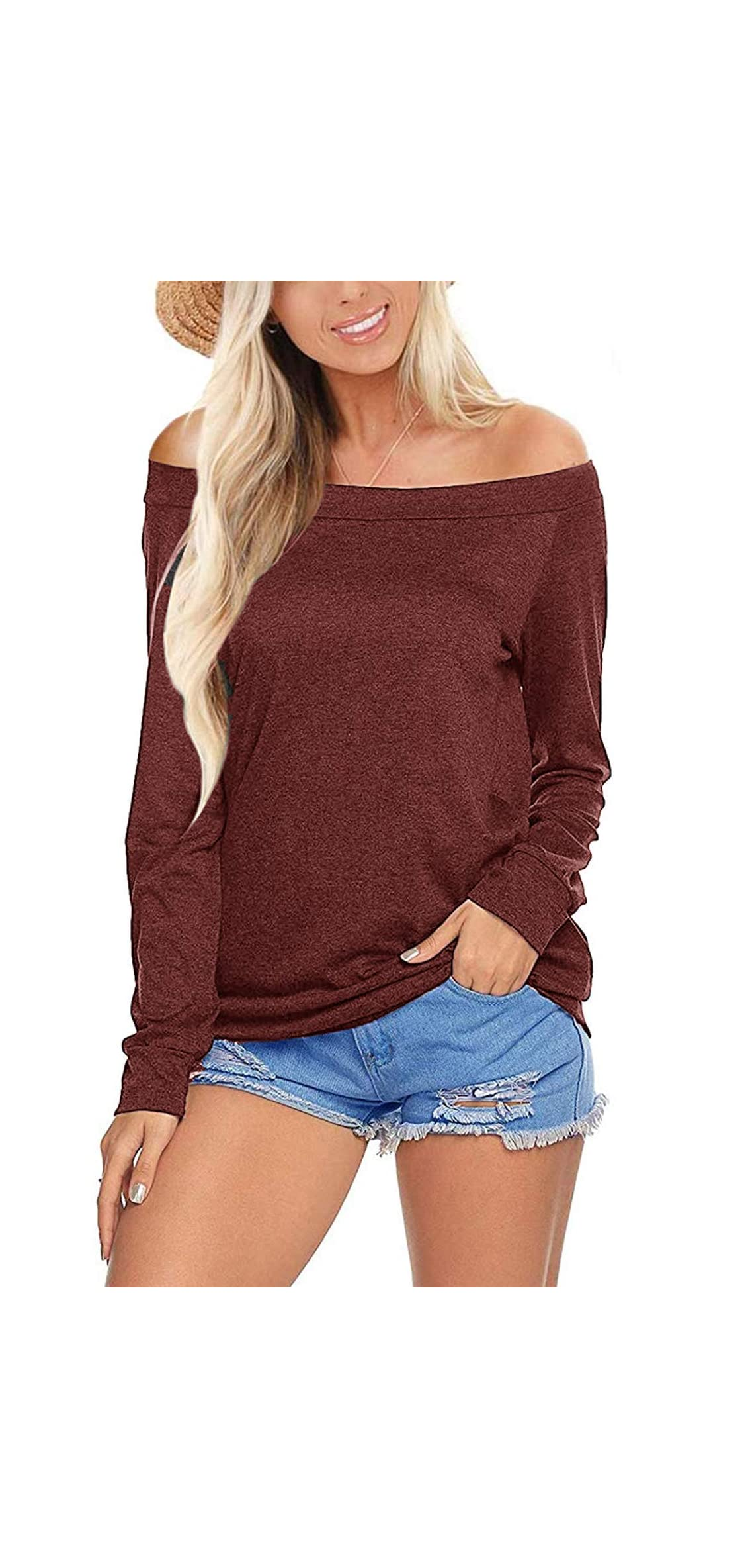Womens Off Shoulder Tops Long Sleeve Boat Neck Casual T
