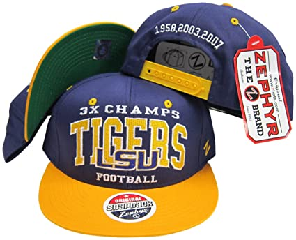 6394f166 Image Unavailable. Image not available for. Color: LSU Tigers 3X National  Football Champs Adjustable Snapback Hat