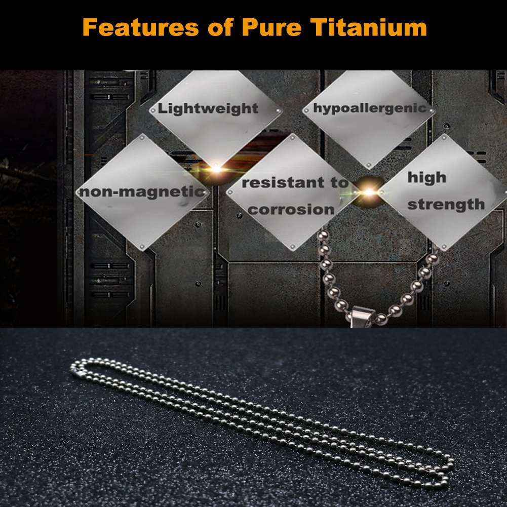 TI-EDC Pure Titanium Bead Ball Chain Necklace 3.0mm Bead-30in Length Jewelry Chain Adjustable with Gift Package for Men and Women