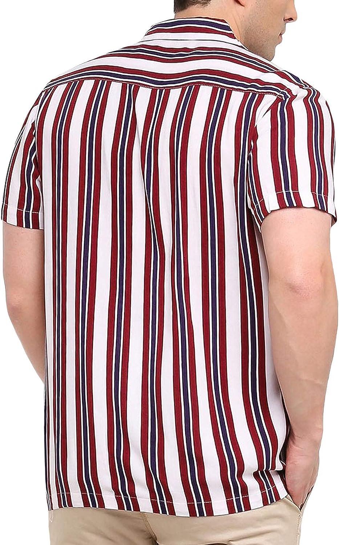 Brave Soul Mens Biology Button Down Striped Shirt White//Multi