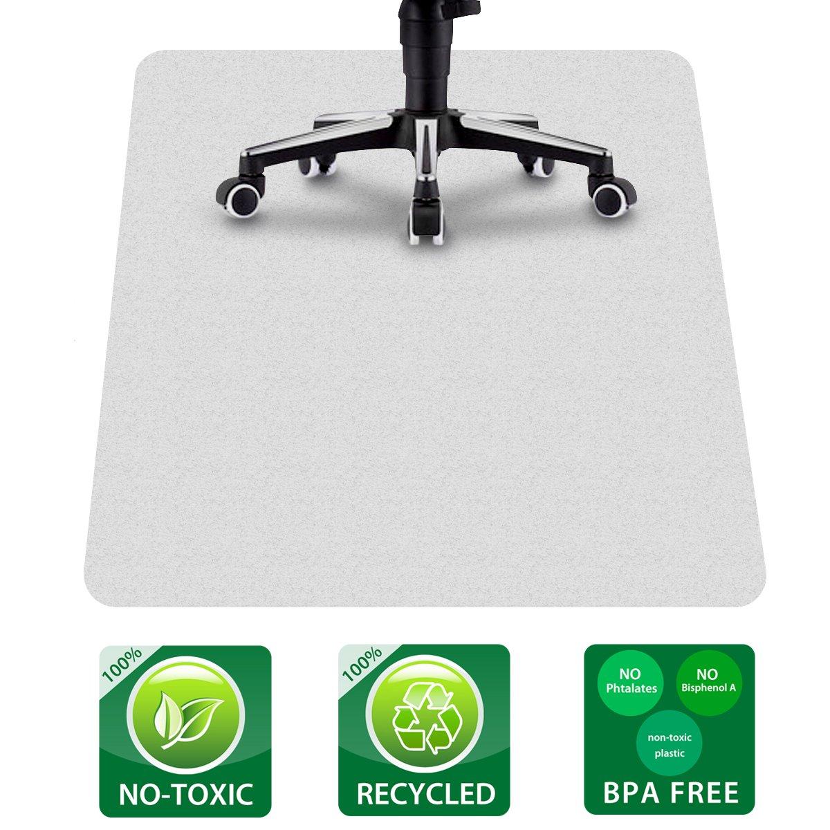 JCHL Office Chair Mat for Hardwood Floors 35.4''x47.2'' PE Chair Desk Mat Non-Toxic, BPA Free, Phthalate Free Hard Floor Desk Mat White