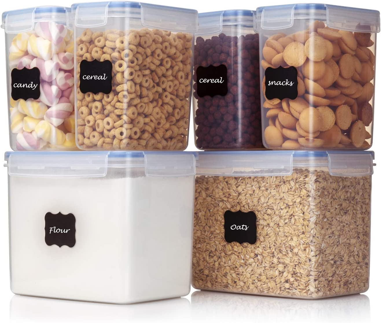 Vtopmart Airtight Food Storage Containers 6 Pieces - Plastic PBA Free  Kitchen Pantry Storage Containers for Sugar,Flour and Baking Supplies - ...