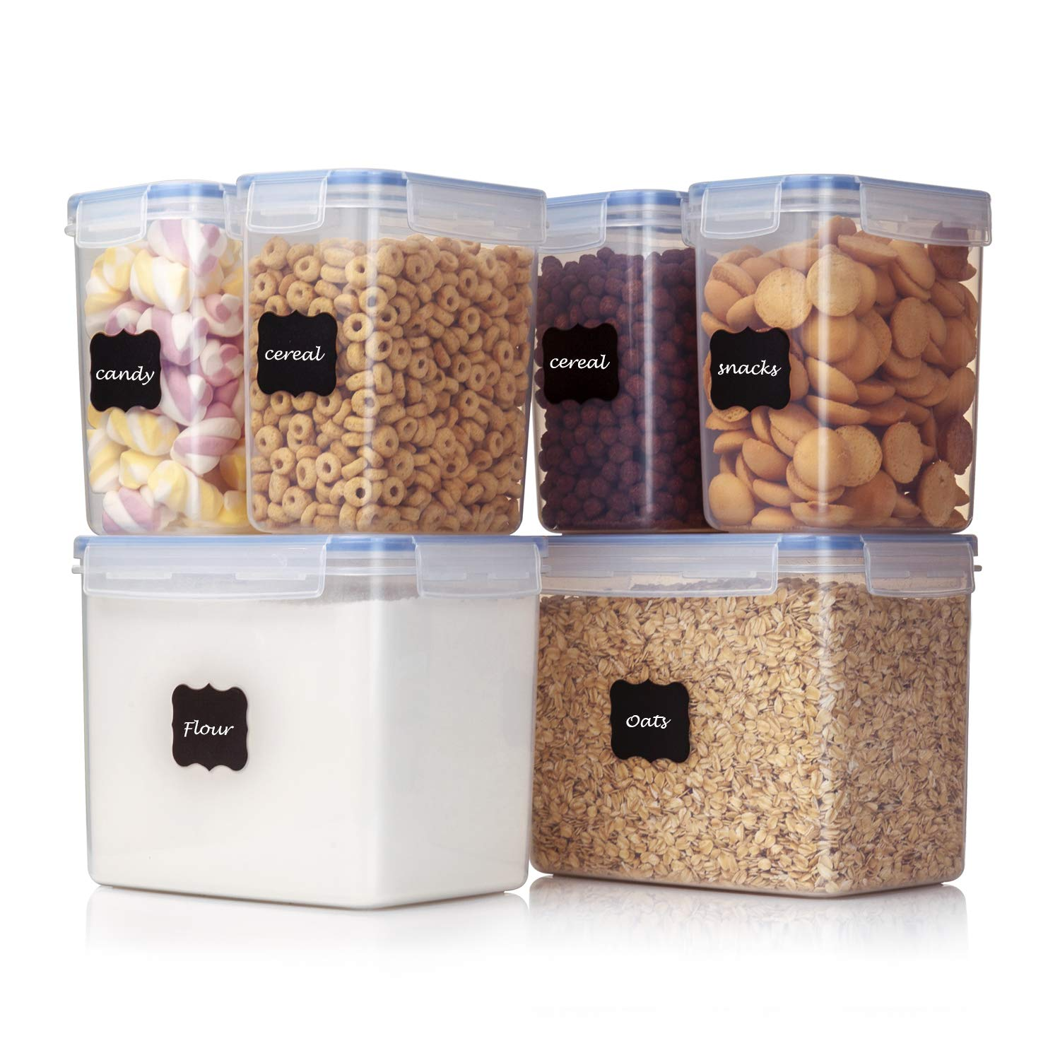 Vtopmart Airtight Food Storage Containers 6 Pieces - Plastic PBA Free Kitchen Pantry Storage Containers for Sugar,Flour and Baking Supplies - Dishwasher Safe - 24 Free Labels and 1 Marker by Vtopmart