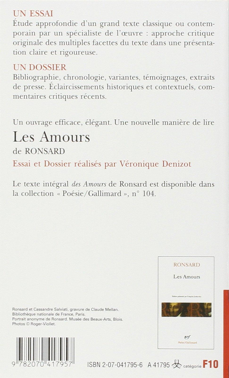 Les Amours De Ronsard Essai Et Dossier Foliothèque Amazon