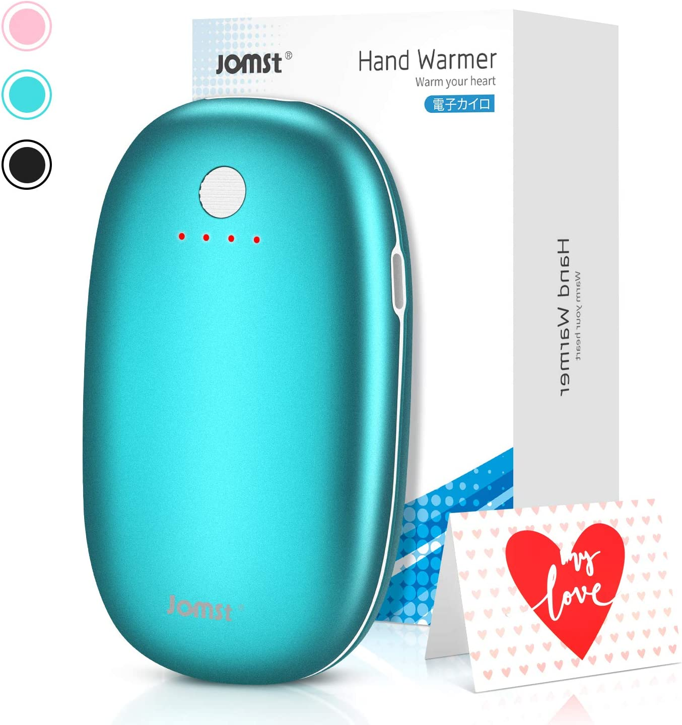 Jomst Rechargeable Hand Warmers 5200mAh Power Bank, Reusable Hand Warmer,Double-Side Quick Heating,Portable Mobile External Battery Charger,Best Winter Gift (Green)