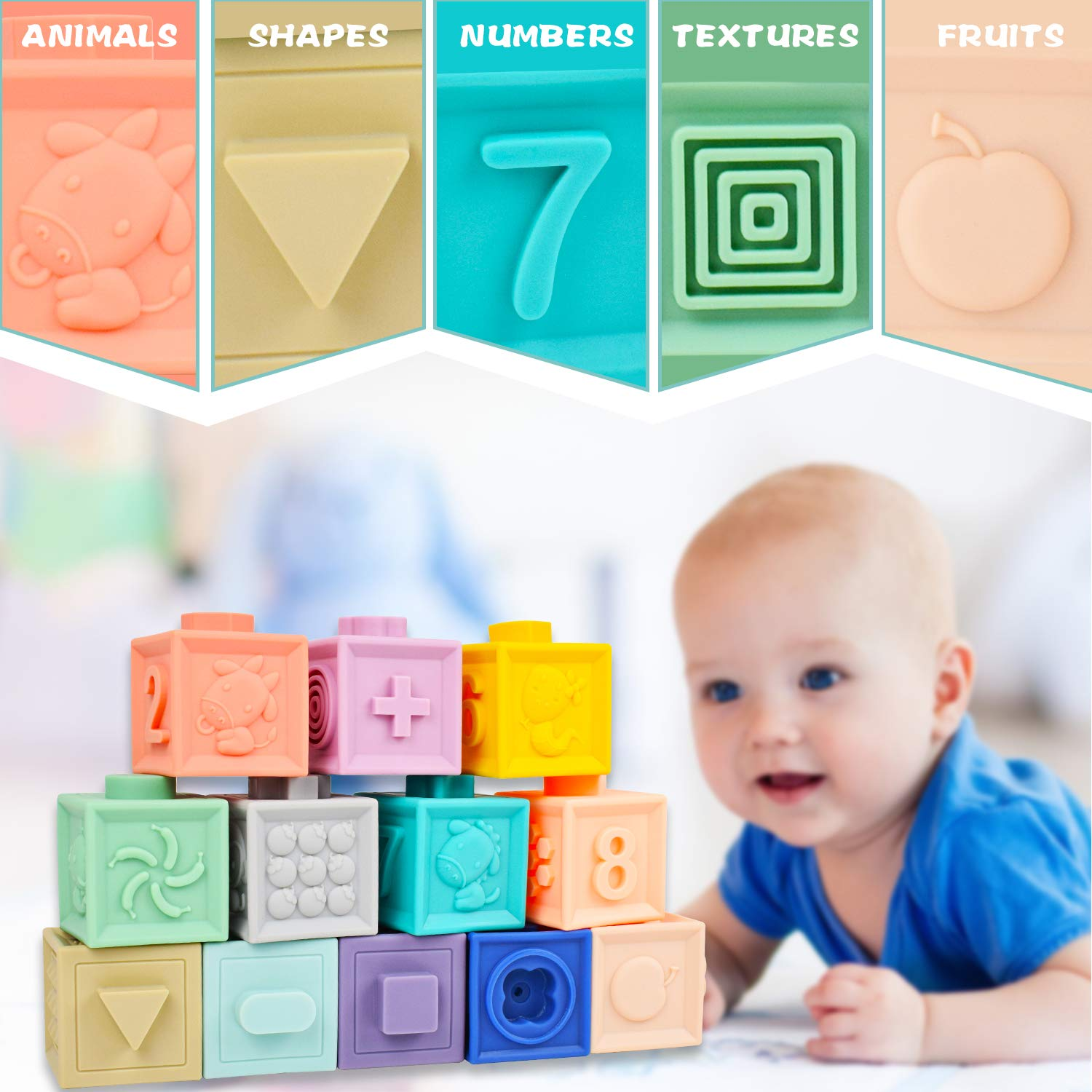 Soft/ Blocks for Babies 6 Month Baby Toys/ Teething Toys/ Infant Toys Baby Building Blocks/ Montessori Developmental Toys with Numbers Animals Shapes for Baby 6 Months and Up 12PCS Mixi Baby Toys Blocks