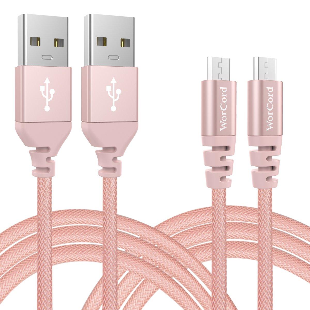 WorCord Cable Micro USB Unidades Carga Rápida m Cable de Conexión Nylon