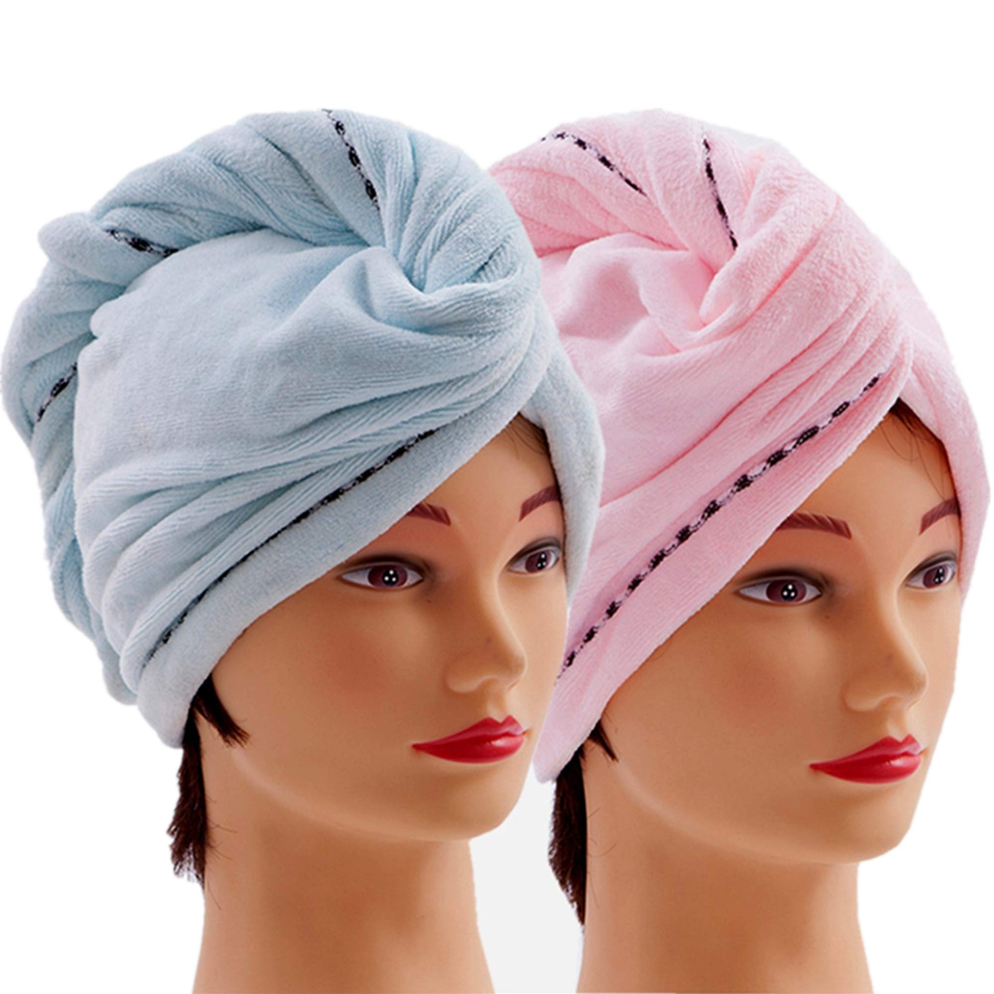 Microfiber Hair Towel Wrap 2 Pack Quick Magic Hair Dry Hat, Turban Twist Head Towel with Button, Quick Dry Super Absorbent for Long & Curly Hair, Anti-Frizz - (Blue & Pink) by CC CAIHONG