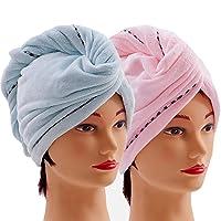 Microfiber Hair Towel Wraps for Women [2 Pack] Quick Dry Anti-frizz Head Turban...