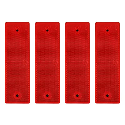 uxcell 4pcs Plastic Red Warning Reflective Plate Stick-on Car Reflector Stickers: Automotive