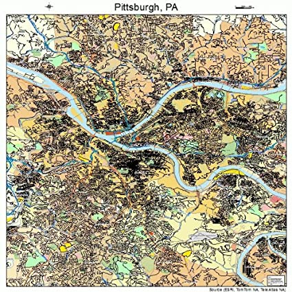 Large Street & Road Map of Pittsburgh, Pennsylvania PA - Printed poster  size wall atlas of your home town