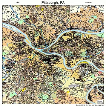 Amazon.com: Large Street & Road Map of Pittsburgh, Pennsylvania PA ...