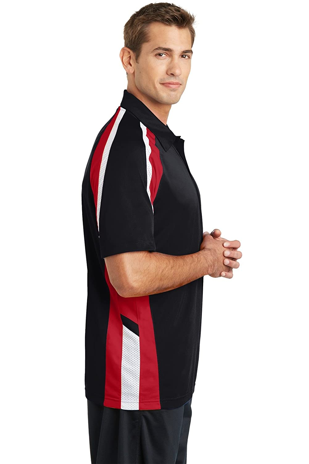 Sport-Tek Tricolor Micropique Sport-Wick Polo ST654 Black//True Red//White