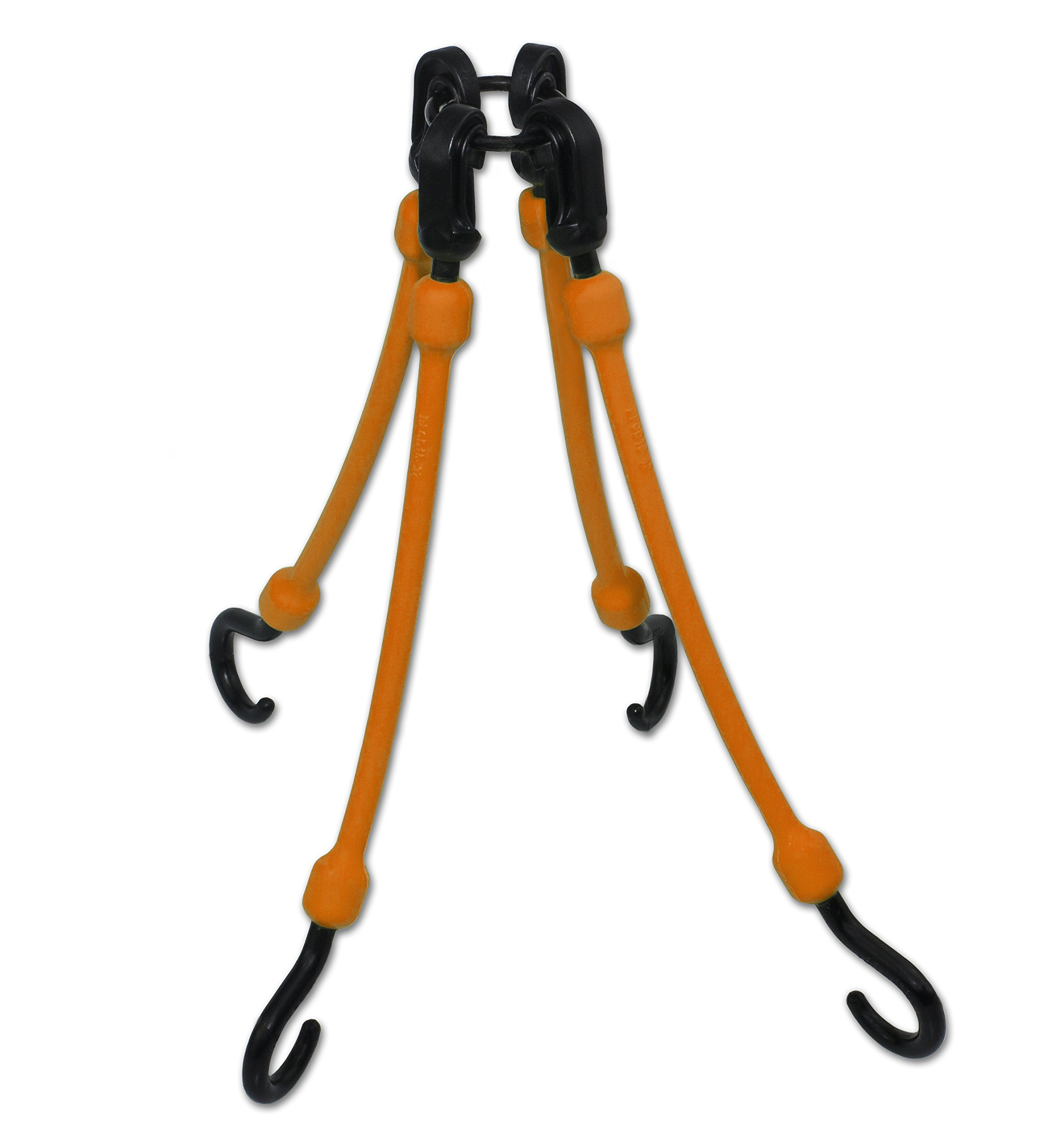 The Perfect Bungee by BihlerFlex FW12-4NG 4-Arm Flex-Web Bungee Cords 4, 12''-24'', Safety Orange