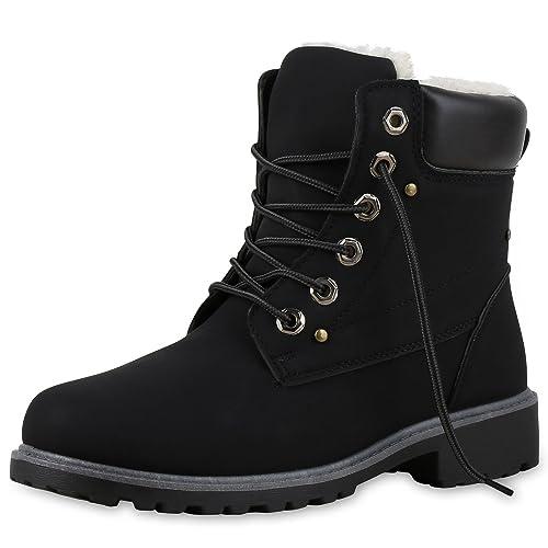 9c6a813bd82eab SCARPE VITA Warm Gefütterte Damen Stiefeletten Nieten Worker Boots 131611  Schwarz Grau 36