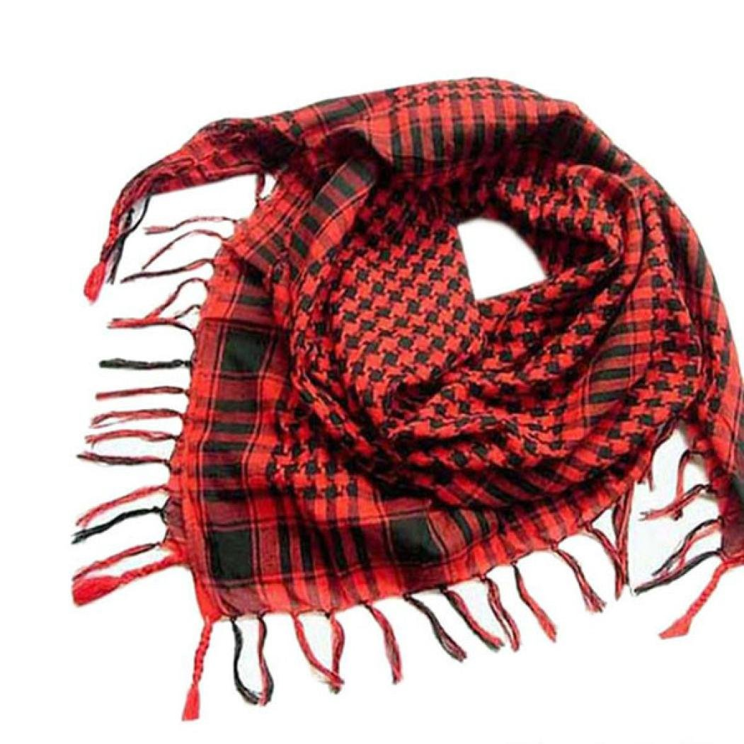 Unisex Fashion Plaid Scarf Shawl, Arab Shemagh Keffiyeh Palestine Classic Shawl Wrap for Women Men (Red)